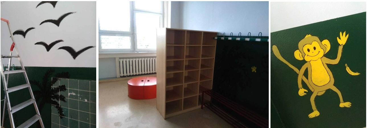 """BeBe students painted a room in the Primary School """"Johanna""""."""