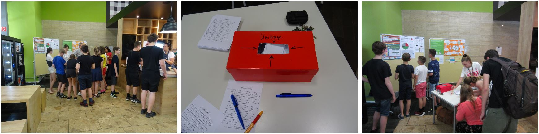 A group of students carried out a poll and informed students about the link between CO2 emission and food consumption.